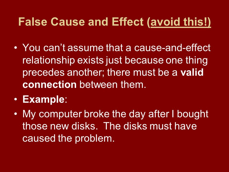 cause and effect a cause and effect essay focus on causes of false cause and effect avoid this