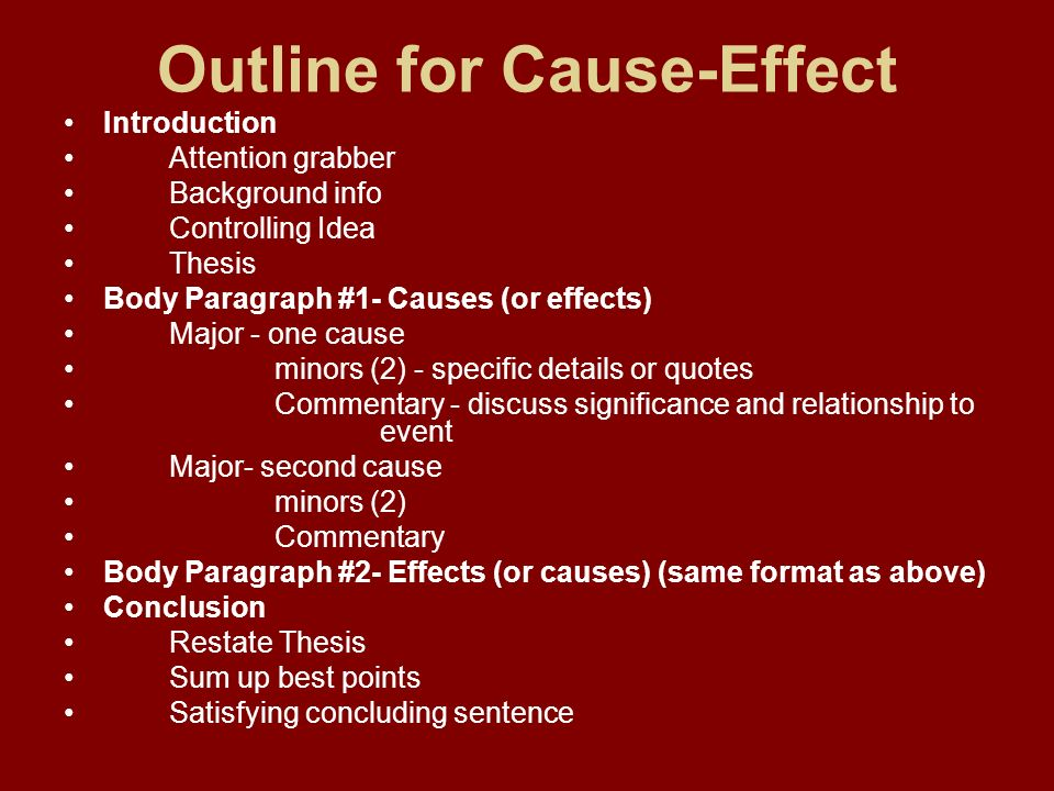 cause and effect outline Here is a great article on the cause and effect essay outline if you need help with writing a paper, contact us and we will gladly help you.
