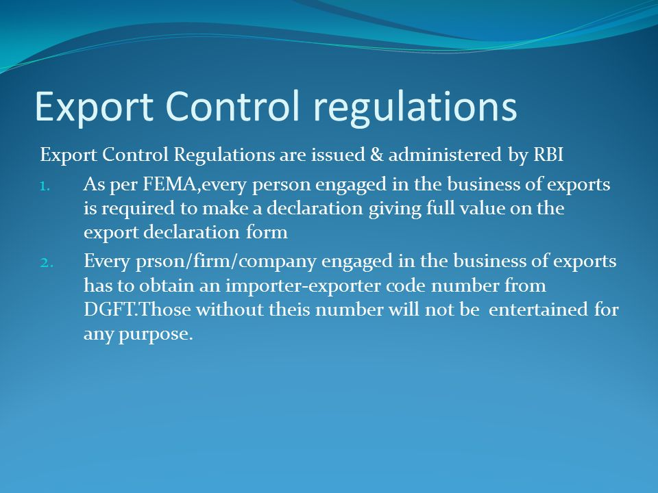 exchange control regulations exports essay General restrictions on export payments for exports part vi  citation these  regulations may be cited as the exchange control regulations 1973  where  a person is convicted by a court of summary jurisdiction of an offence.