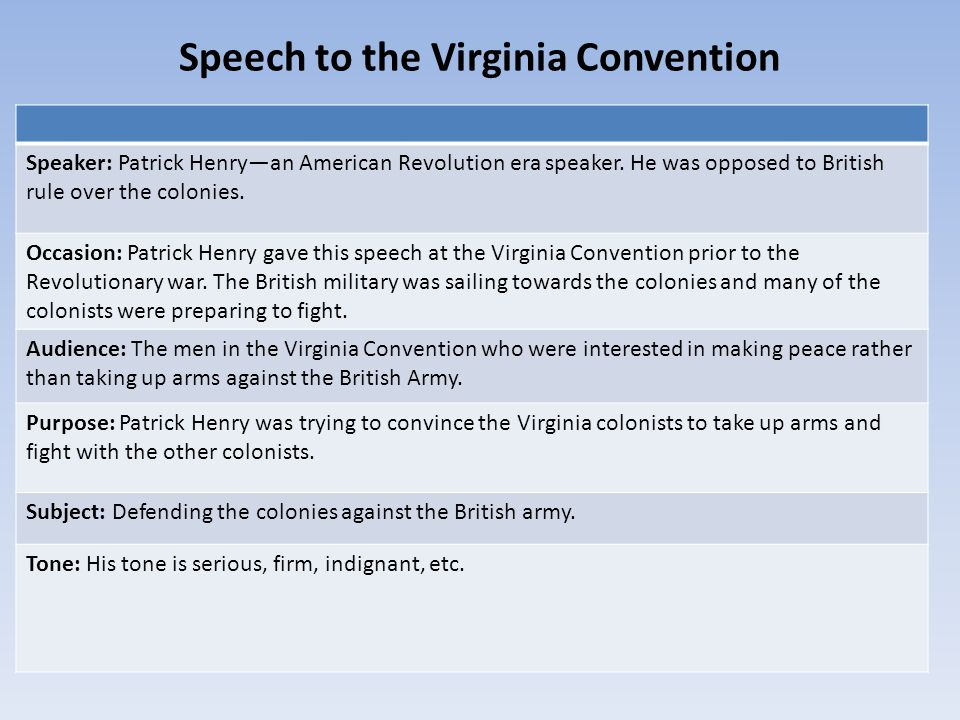 an analysis of the speech the virginia convention by patrick henry Constitutional convention speeches of patrick henry in the virginia ratifying convention thursday 1788, first speech: restraint on corruption.