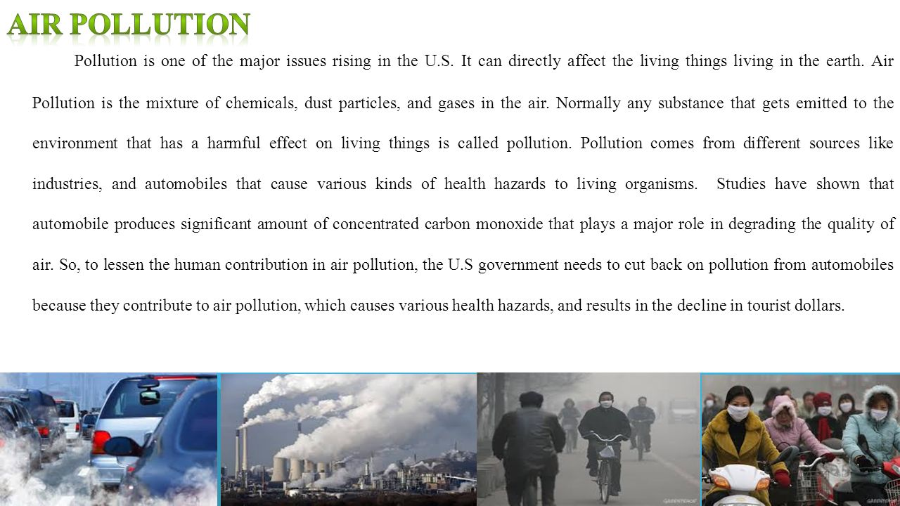 air pollution a significant cause of Barrett says that a person who dies from an air pollution-related cause typically dies about a decade earlier than he or she otherwise might have to determine the number of early deaths from air pollution, the team first obtained emissions data from the environmental protection agency's national emissions inventory, a catalog of emissions .