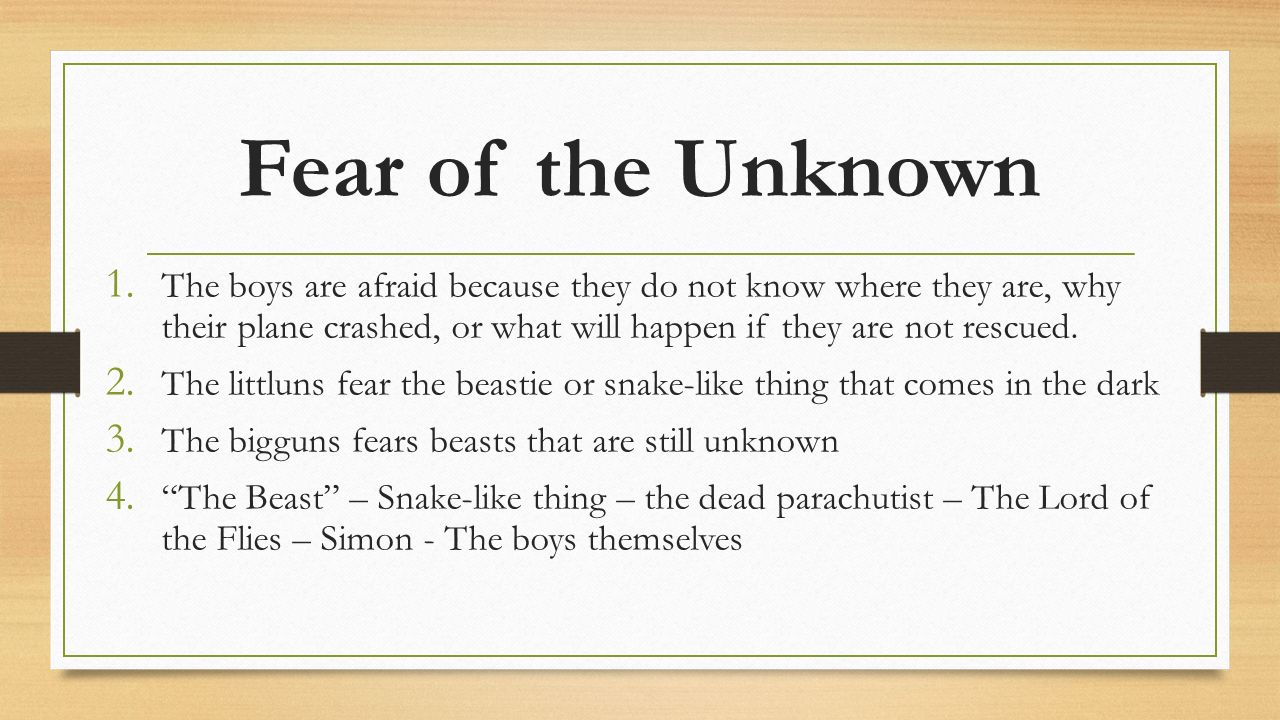 lord of the flies themes ppt video online  fear of the unknown