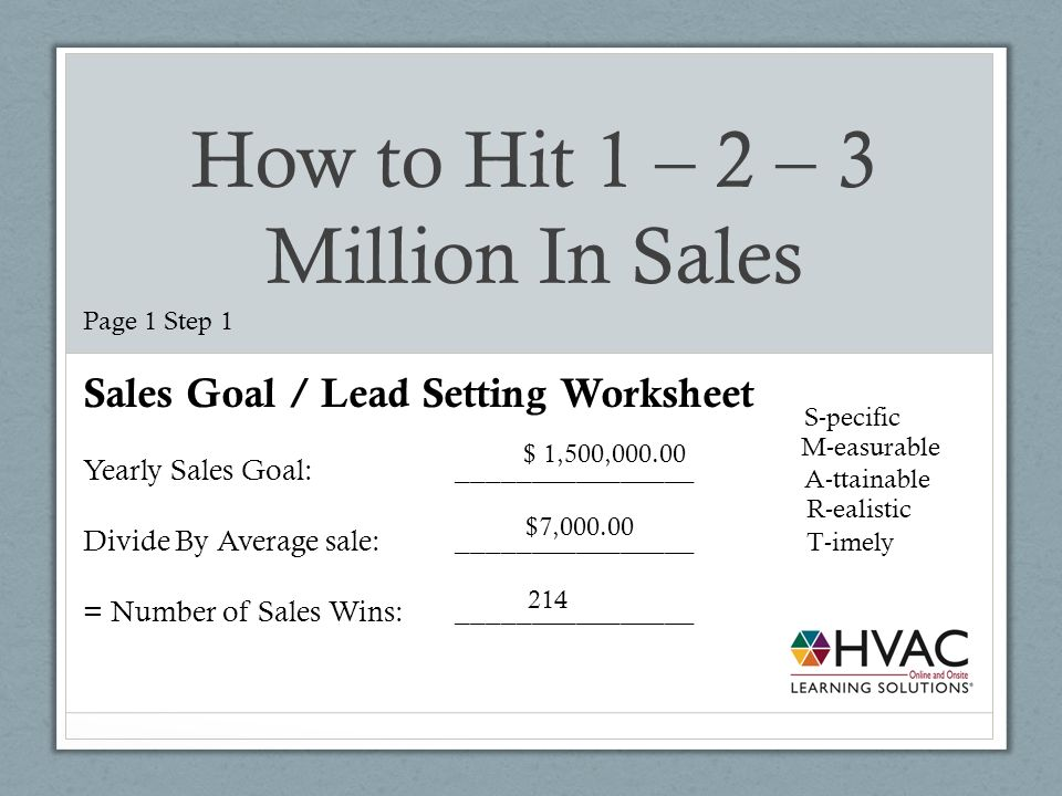 sales goal sheet
