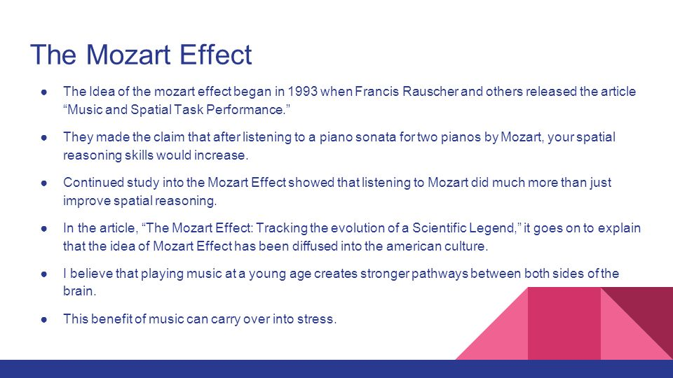 an analysis of the mozart effect The aim of this study is to investigate the influence of mozart's music on brain activity through spectral analysis of the eeg in young healthy adults (adults), in healthy elderly (elderly) and in elderly with mild cognitive impairment (mci).