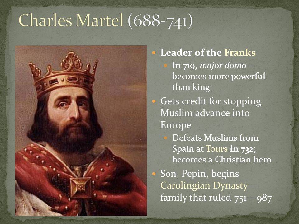 carolingian dynasty and frankish king charlemagne The carolingian dynasty was a family of frankish tribe nobles who came to rule over much of western europe from 751 to 987 the dynasty's most prominent member was charlemagne he became the founder of the carolingian dynasty as king pepin i.