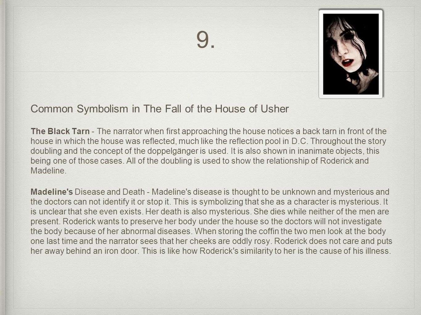 the imagery of the supernatural in the fall of the house of usher Symbolism in the fall of the house of usher essays: over 180,000 symbolism in the fall of the house of usher essays, symbolism in the fall of the house of usher term.