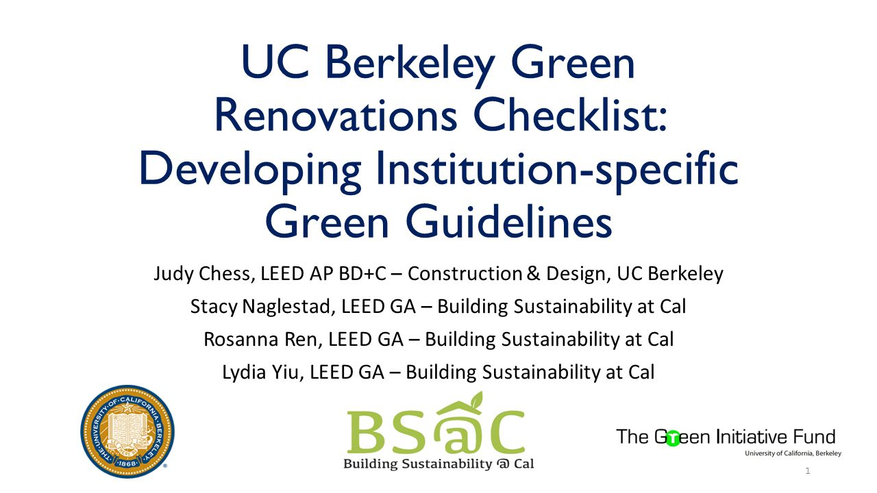 Judy chess leed ap bd c construction design uc for Build it green checklist