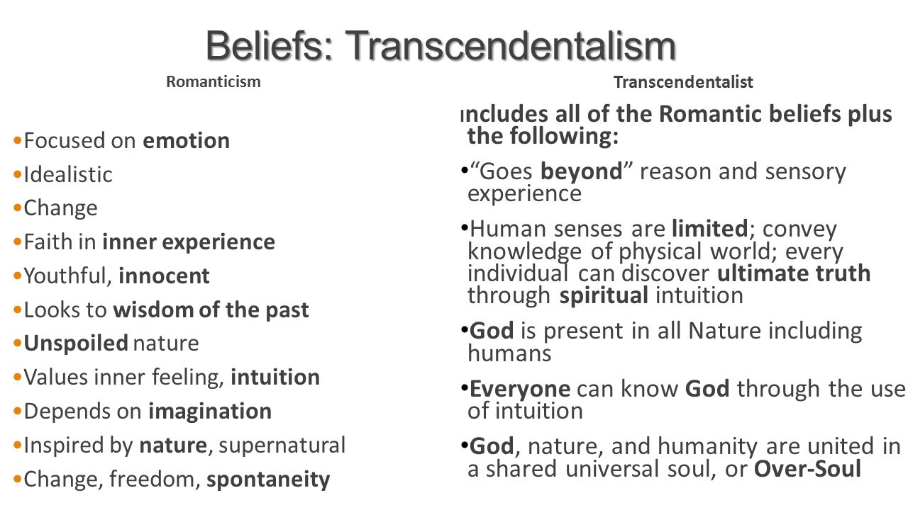the puritan and transcendentalist beliefs in god The liberals tended to reject both the persisent orthodox belief in inherent  depravity  since they conceived of revelation as an external favor granted by  god to assure  the heresy of the transcendentalists (for which the early  puritans had.