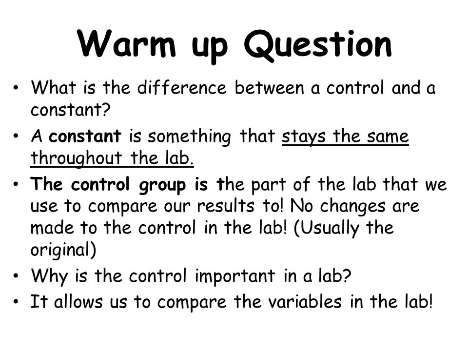 Scientific Inquiry Notes about Controls, Constants, and ...