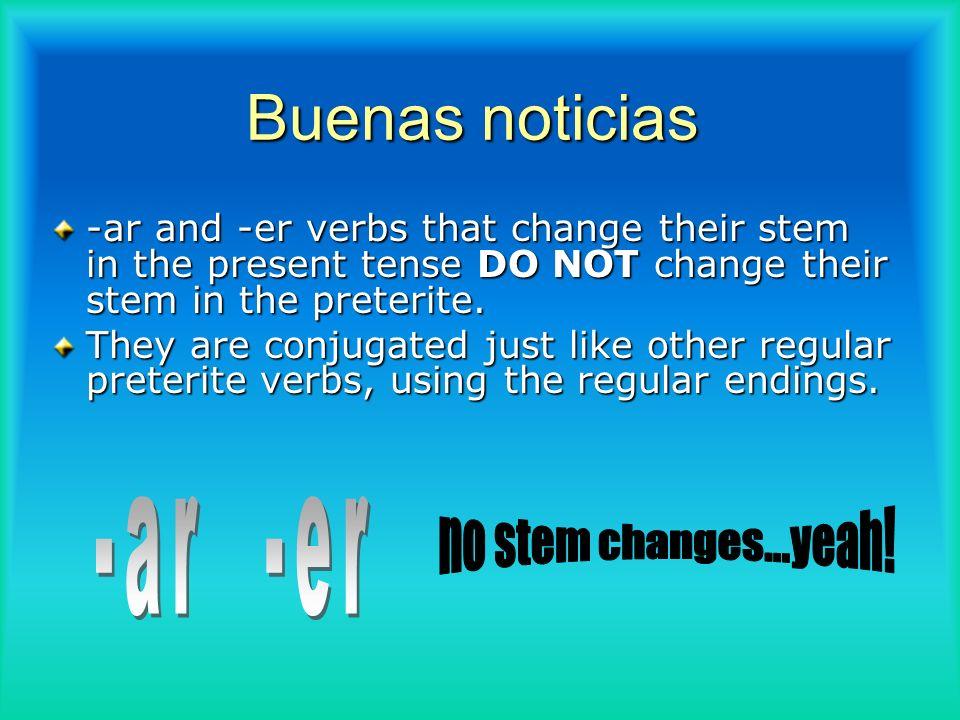 Buenas noticias -ar -er no stem changes...yeah!