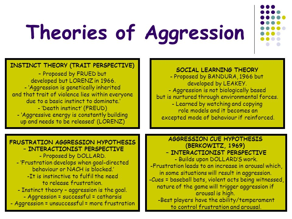 theories of aggression essay Read aggression free essay and over 88,000 other research documents aggression chapter 11: aggression: its nature, causes, and control theoretical perspectives on aggression: in search of.