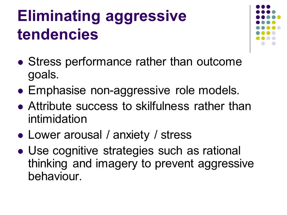 sport and aggressive behavior This study focuses on how sports attitudes and participation relate to physical  aggression outside sport for college athletes data were derived from a survey o.