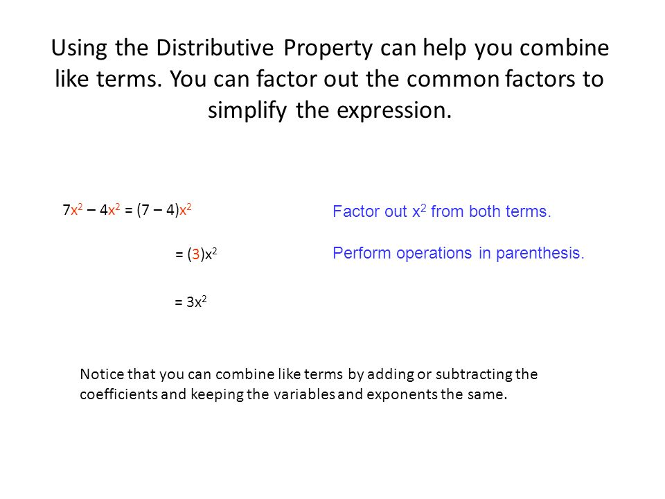 Algebraic expressions 2x 3y ppt download using the distributive property can help you combine like terms ccuart Gallery