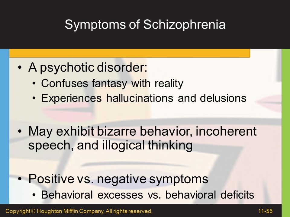 symptoms of schizophrenia 1% of the world's population suffers from schizophrenia it occurs at similar rates in all ethnic groups around the world men and women are at equal risk of developing the disease women usually develop symptoms during their mid-20s and early 30s men tend to show symptoms between their late teens and early 20s.