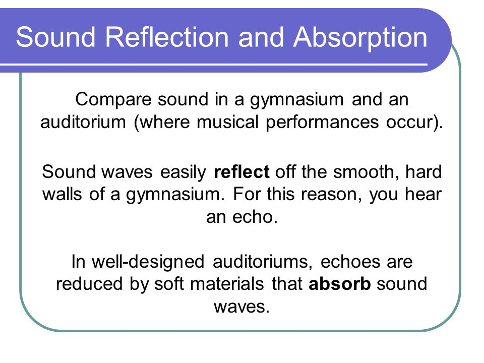 Sound Reflection and Absorption