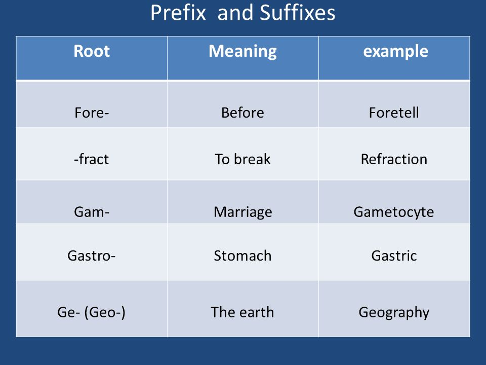 Prefix And Suffixes Root Meaning Example Fore  Before Foretell  Fract