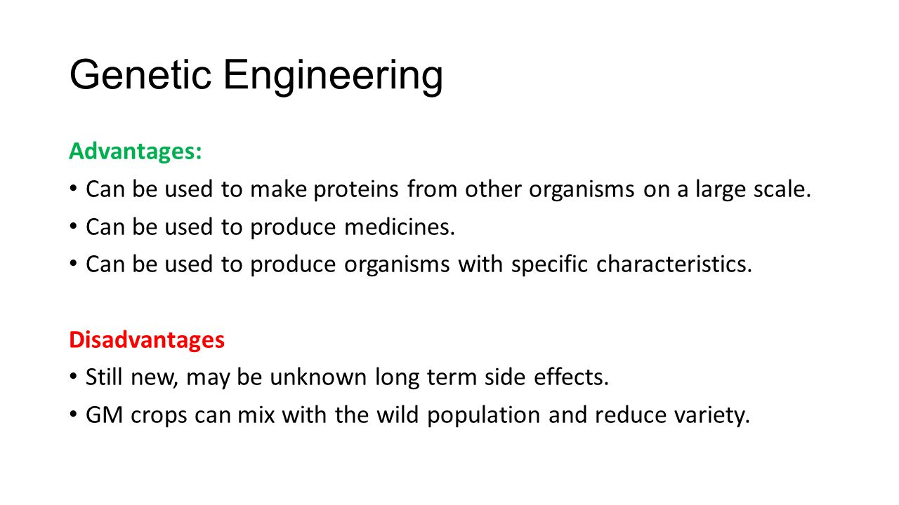 benefits of genetic engineering essay Though there are benefits to genetic engineering, there are also drawbacks to  genetic engineering including ethical and legal issues that are dealt with in.