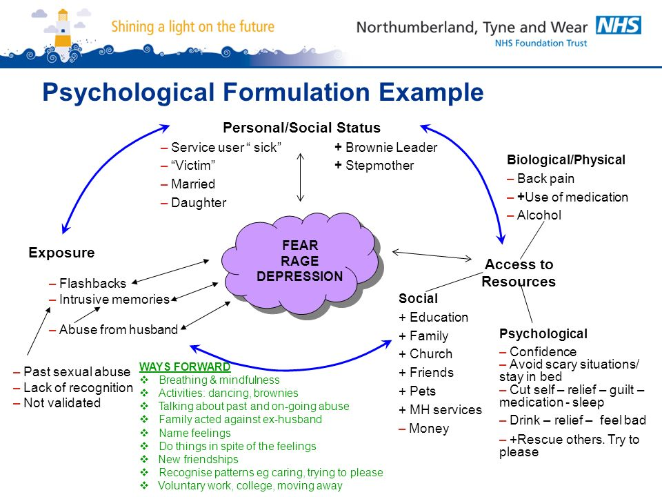 psychological formulation of case study The work clinical psychologists undertake is underpinned by their ability to  a  single-case study  formulation with an account of a behavioural intervention.