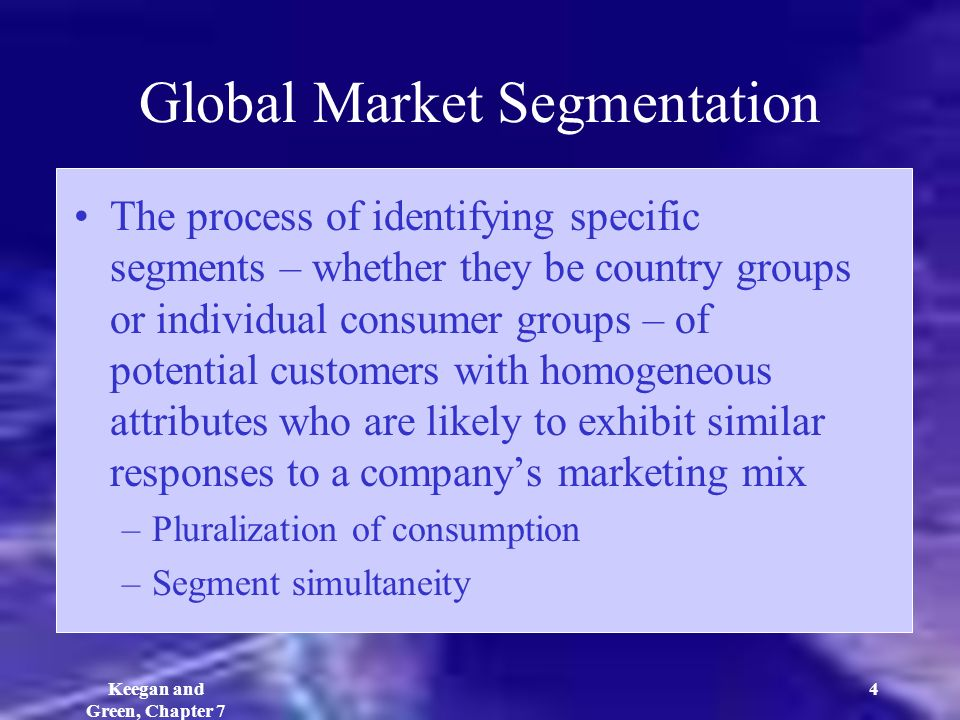 global marketing identifying markets However, success in global markets depends on knowledge accumulation and deployment  at this level, global marketing and global branding are integrated.