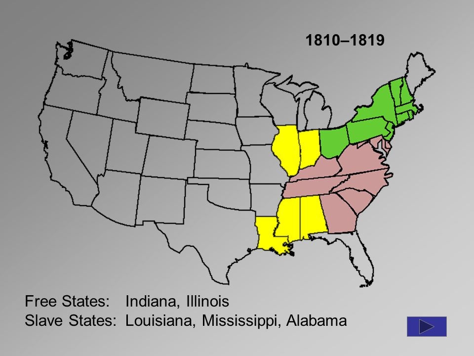 Background To Civil War Ppt Download - 1819 map of us free and slave states