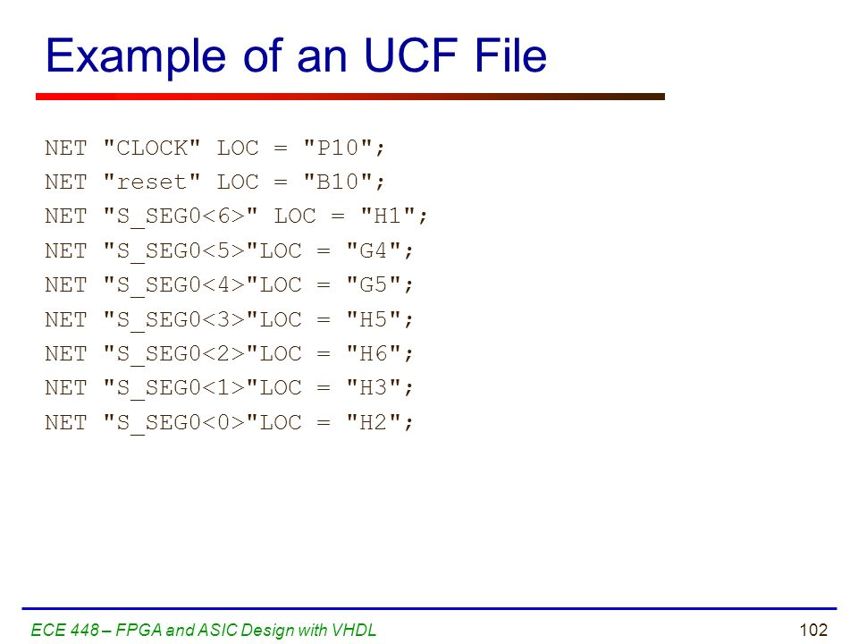 Example of an UCF File
