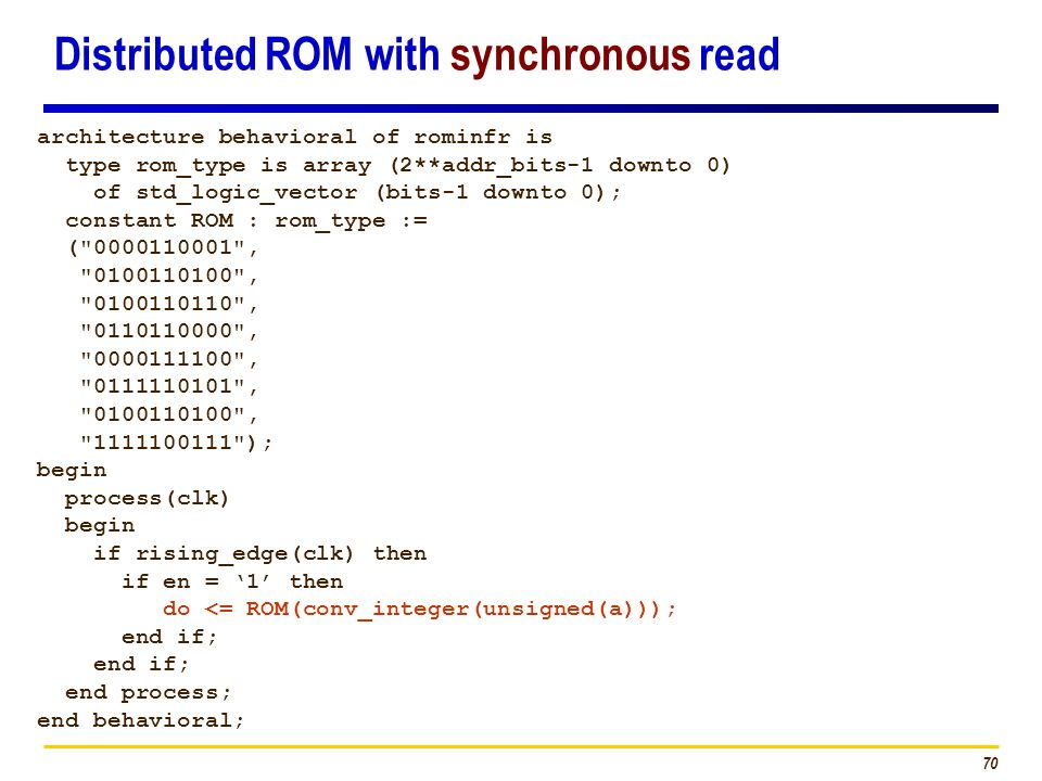 Distributed ROM with synchronous read