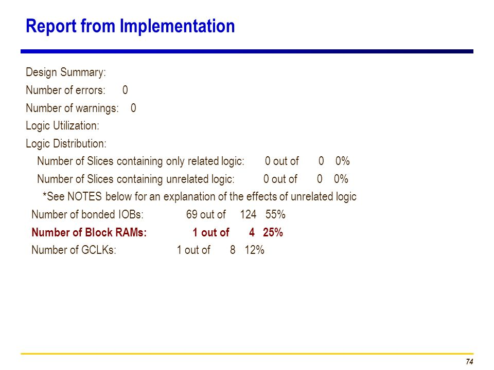 Report from Implementation