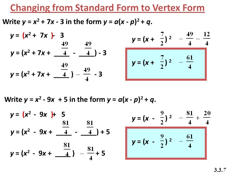 Going From Standard Form To Vertex Form Hunthankk