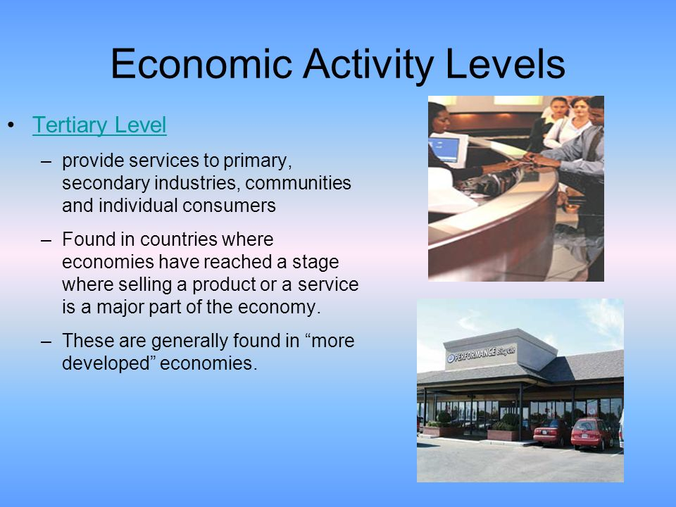 levels economic activity The nature of economic activity: stocks and flows  y = x − d (1) where y is  the level of income, x is the level of output and d is depreciation (and depletion.