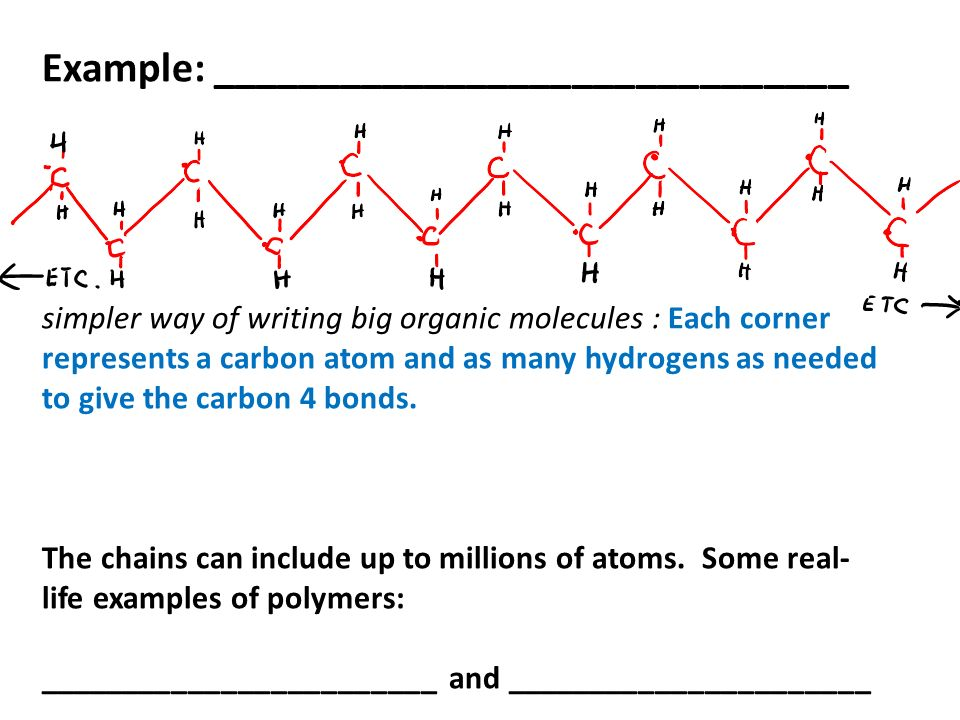 Example: ______________________________ simpler way of writing big organic molecules : Each corner represents a carbon atom and as many hydrogens as needed to give the carbon 4 bonds.