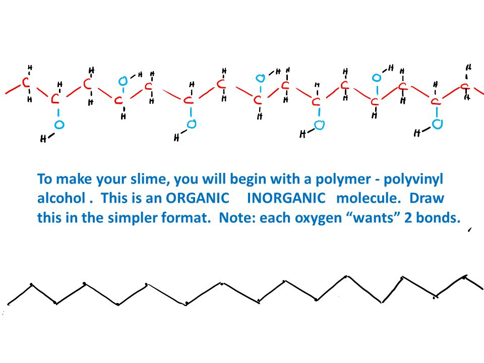 To make your slime, you will begin with a polymer - polyvinyl alcohol
