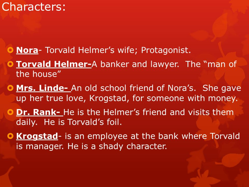 an analysis of nora perceived by other characters in a dolls house a play by henrik ibsen Henrik ibsen's a doll's house play to other works, including ibsen's the wild duck  major characters torvald helmer a lawyer nora helmer torvald's wife.