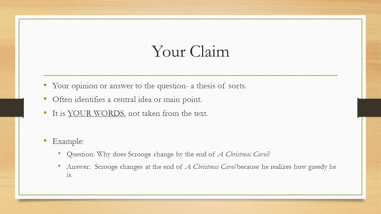 Writing and answering a claim in a research paper