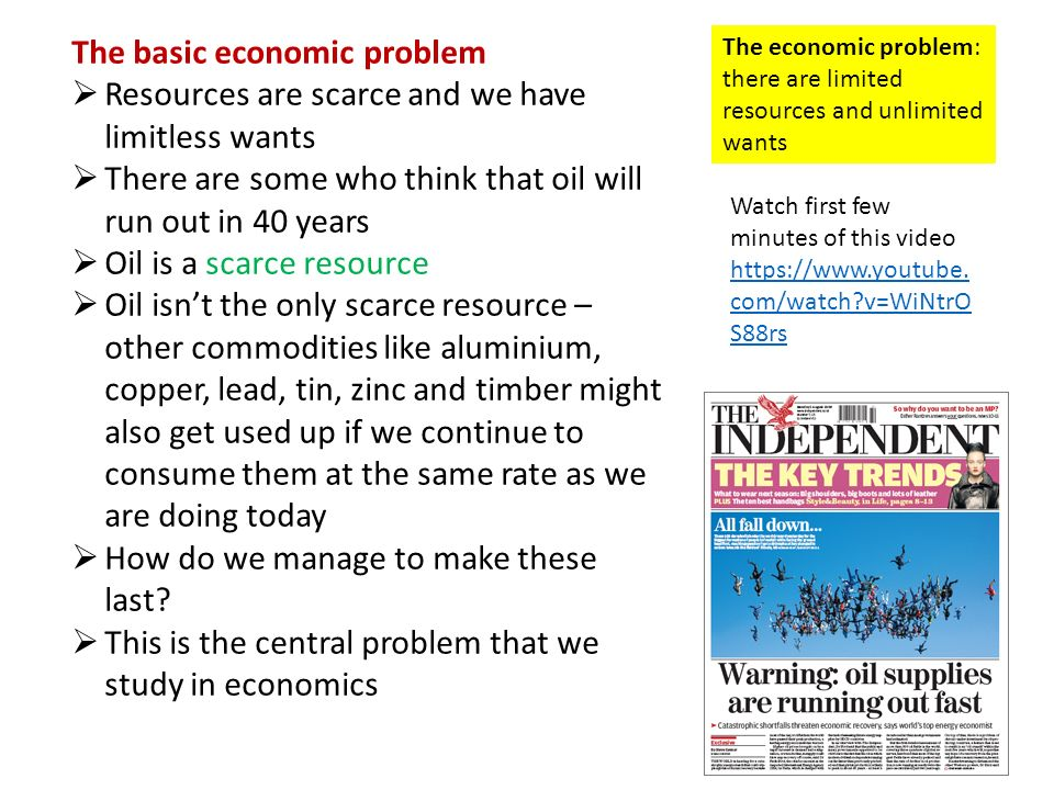 basic economic problem What is the basic economic problem the human condition of unlimited wants and limited resources which cause people to not be able to.