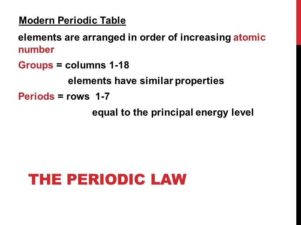 The periodic table chapter ppt video online download modern periodic table elements are arranged in order of increasing atomic number groups columns 1 urtaz Image collections