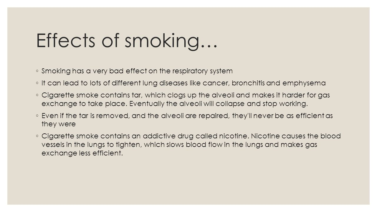 essay on the effect of smoking on gaseous exchange The major health problems caused by smoking affect the nicotine  hot gases  and particulate inhaled during cigarette smoking contact the.