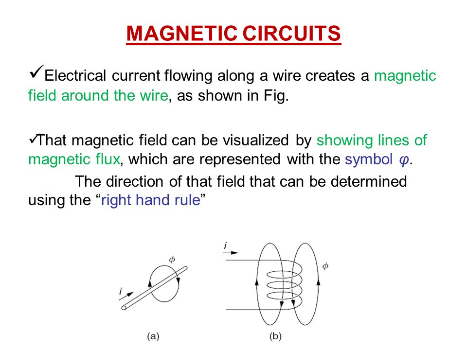 Magnetic Circuits Electrical Current Flowing Along A Wire Creates A
