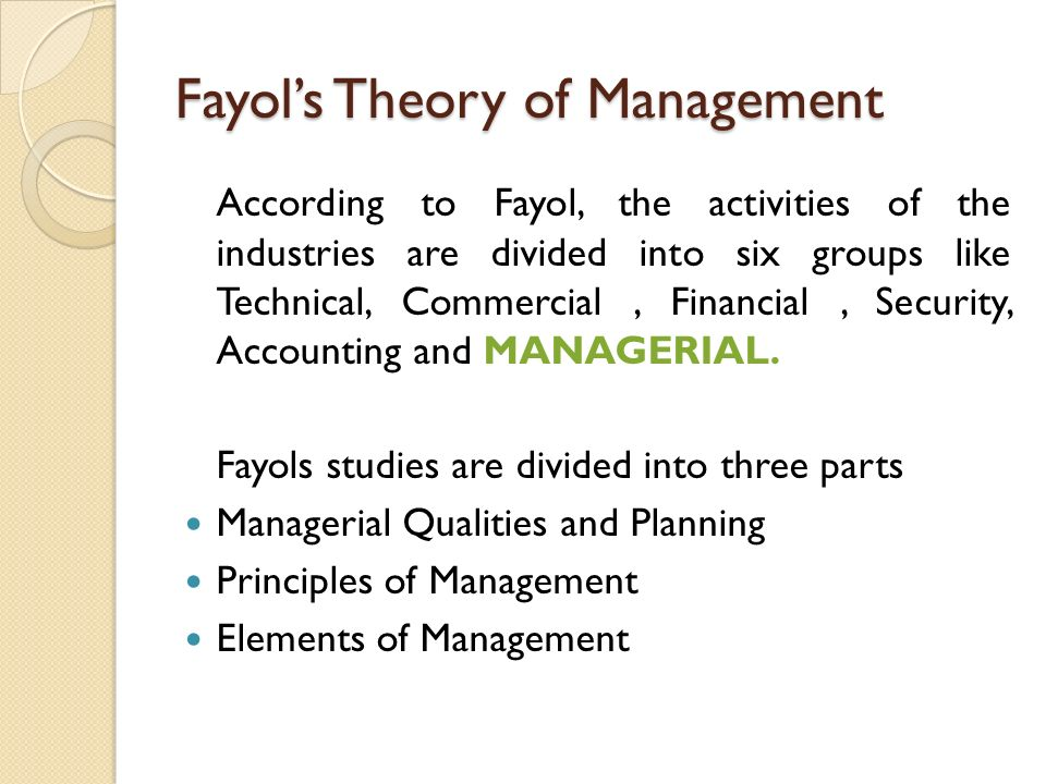 fayols theories Comparing fayol and mintzberg's theories on management management is a vague term which throughout the years many scientists have attempted to define is it the .