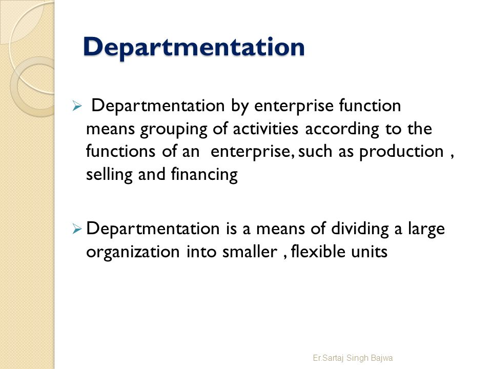 departmentation by enterprise function Organization structure – department 1 departmentation by organization enterprise functions 2 departmentation by geography / territory.