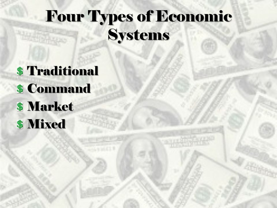 four types of economic systems essay To evaluate the performance of different economic systems in fulfillment of major   the three/four essay tests (60%) will be designed to test the.