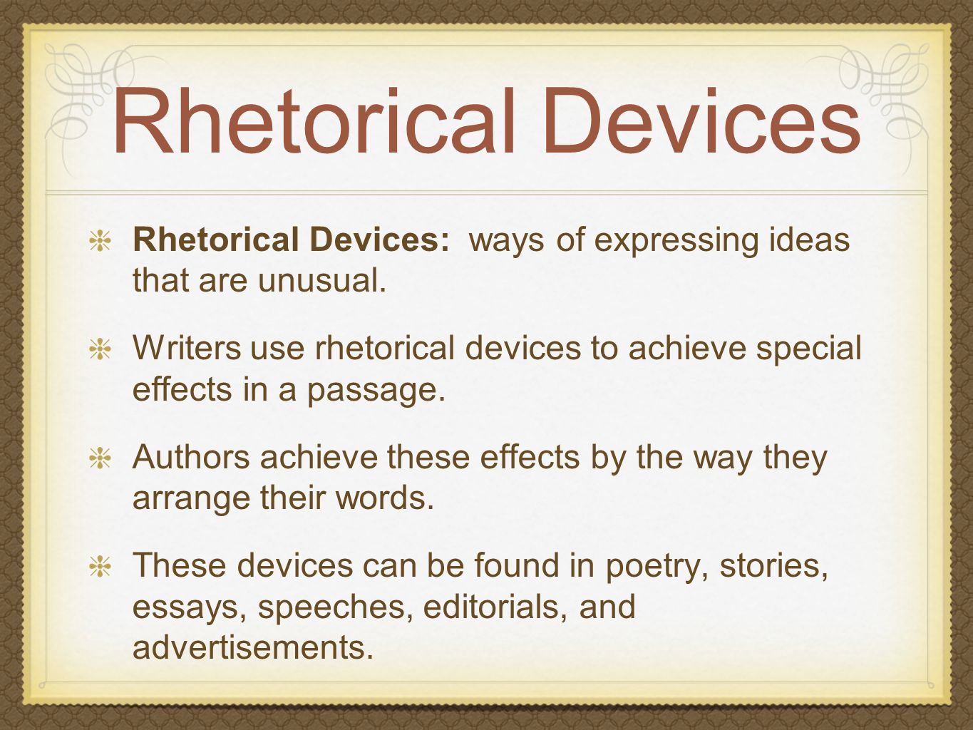 which rhetorical device can you use in this essay There are many rhetorical devices a writer can use when crafting an essay a few examples include rhetorical questions, understatement, hyperbole, and metaphor.