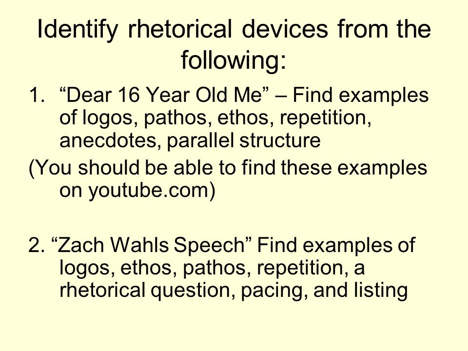 identifying rhetorical devices I each group will be given an envelope full of rhetorical device examples that match one of the three rhetorical devices your task is to match each example with the.