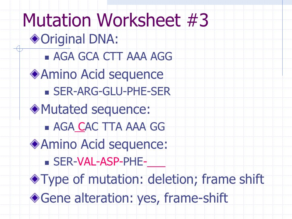 Definitions Mutation – any change in the genetic sequence. - ppt ...