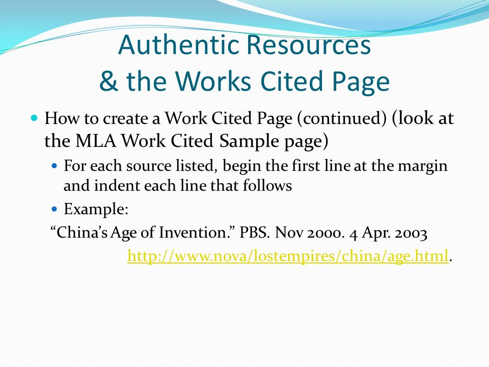 authentic resources  u0026 the works cited page
