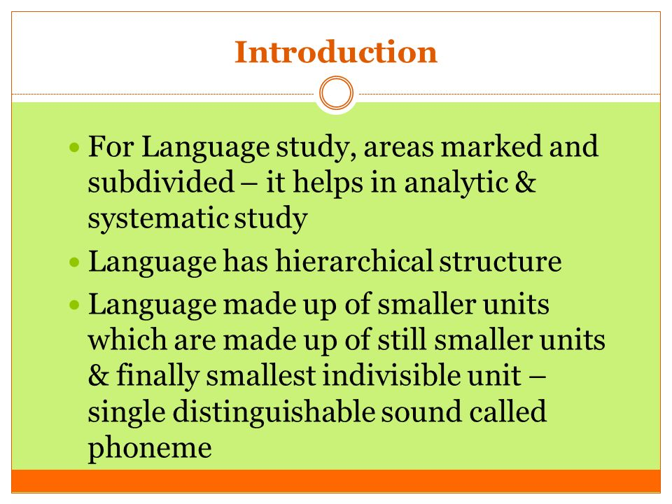 three levels of structure of language 1 the language hierarchy the hierarchical structure of human language the language hierarchy what is a hierarchy •in a hierarchy:-elements at one level are combined to construct.
