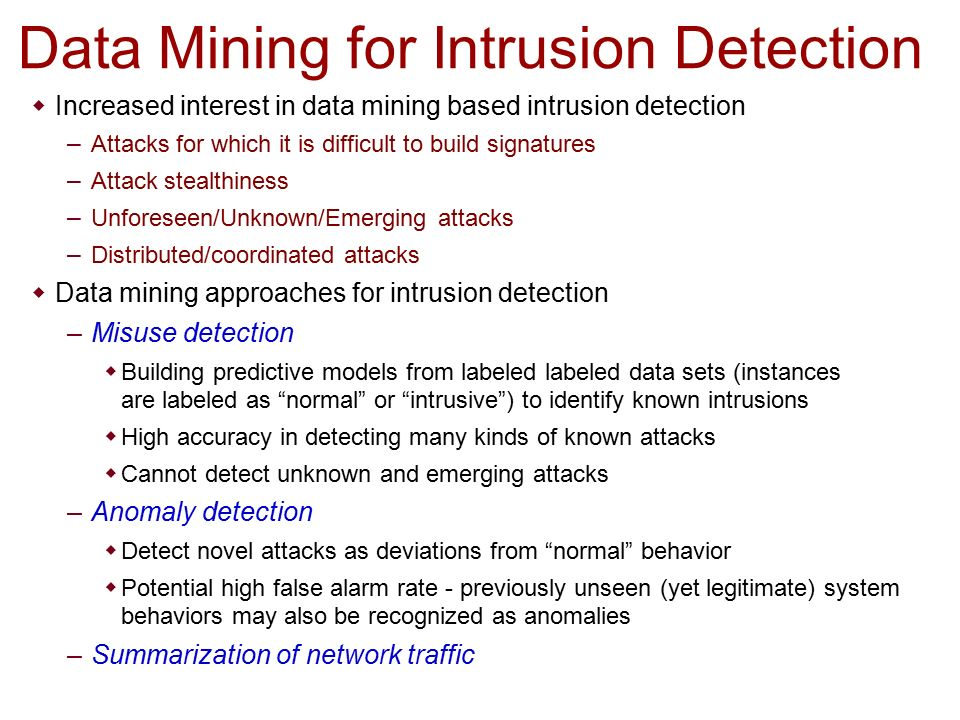 intrusion detection data mining thesis Done at the intersection between intrusion detection and data mining  thesis, ossining high school  an intrusion detection system using data mining and.