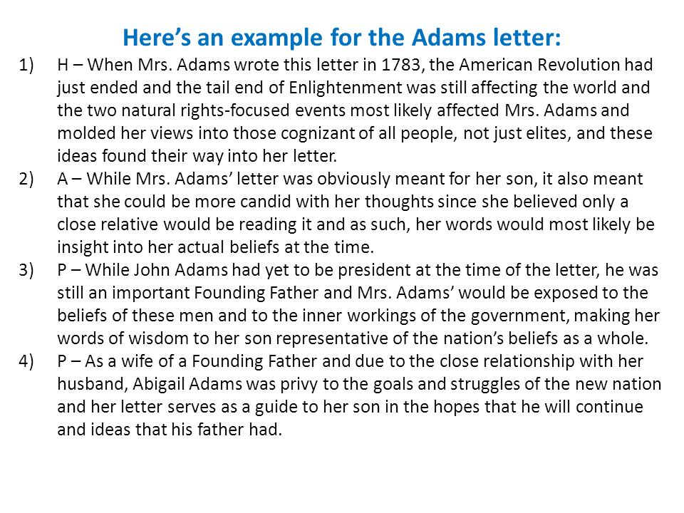 Here's an example for the Adams letter: