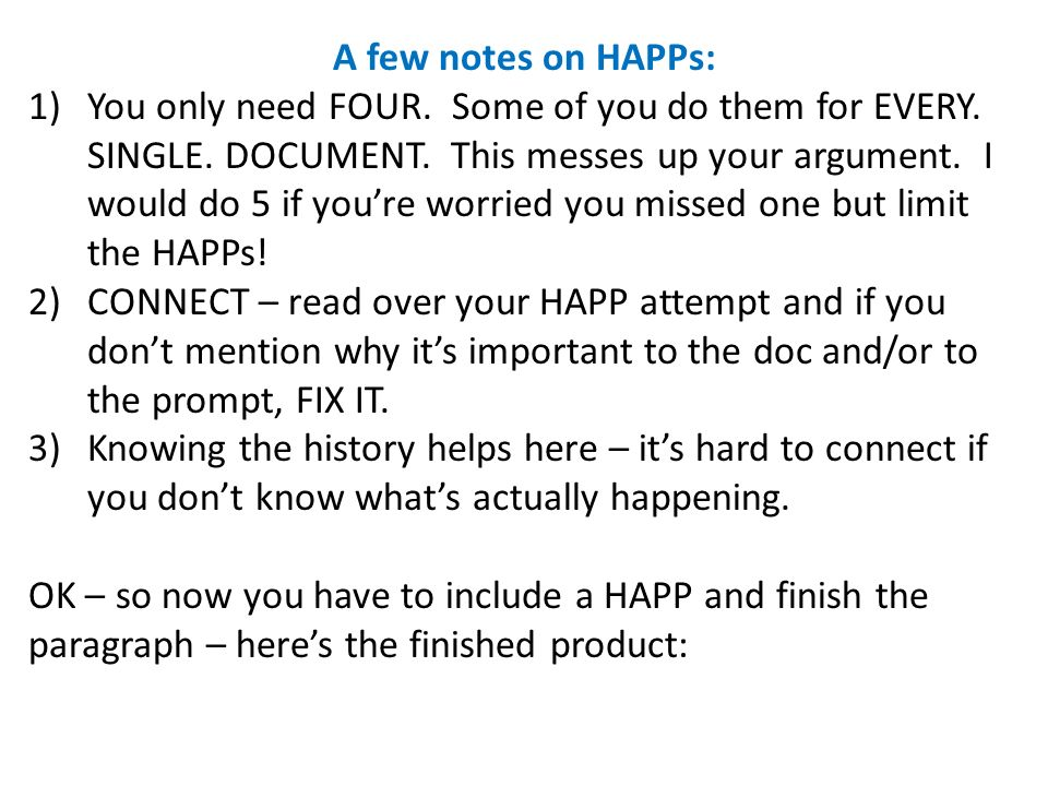 A few notes on HAPPs:
