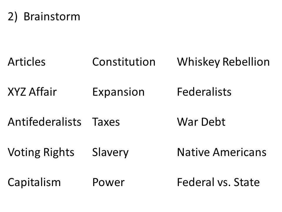 Brainstorm Articles Constitution Whiskey Rebellion. XYZ Affair Expansion Federalists. Antifederalists Taxes War Debt.