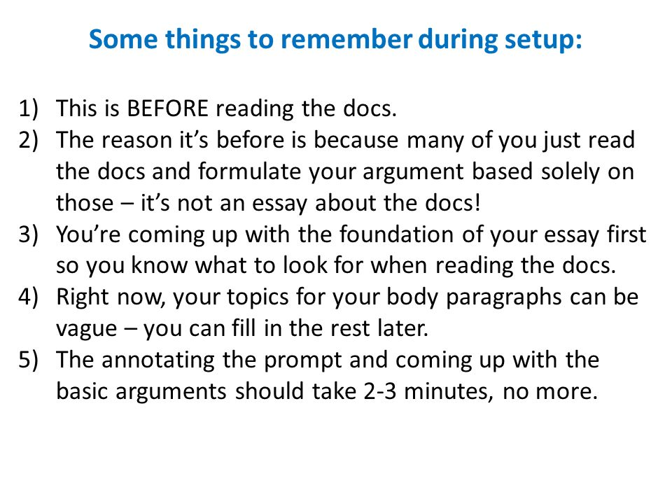 Setting up an argument essay
